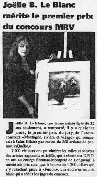 Joëlle B. Le Blanc mérite le premier prix du concours MRV